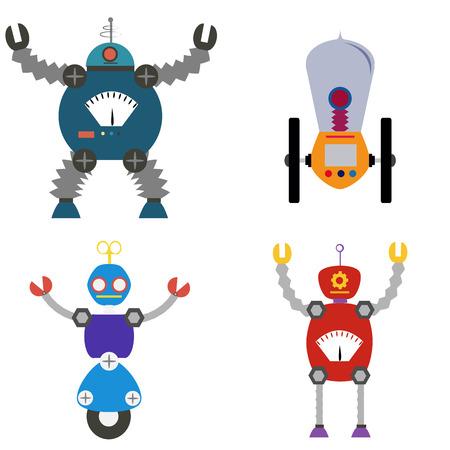 iron fun: Set of robot toys on a white background. Vector illustration Illustration