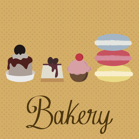 bakery products: Group of bakery products on a colored background. Vector illustration