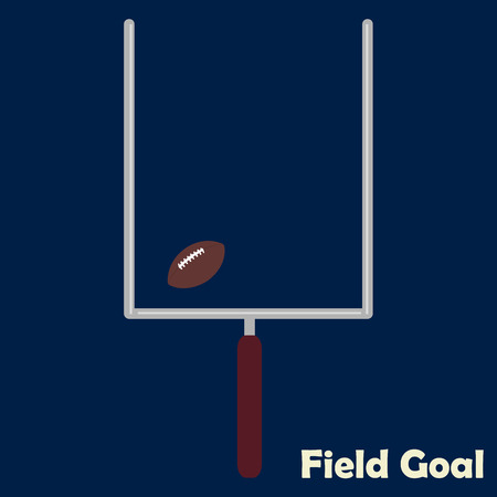 field goal: Blue background with text and a football field goal. Vector illustration
