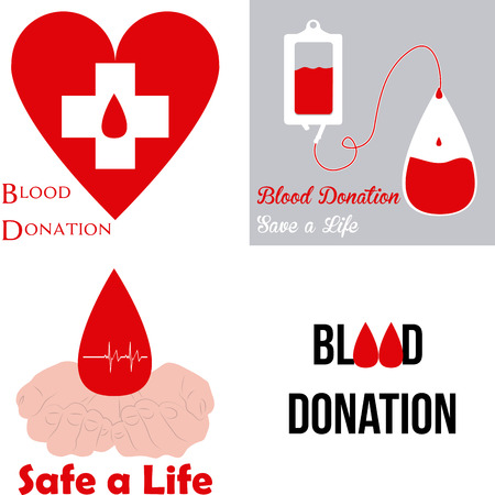hematology: Set of images with different elements for blood donation. Vector illustration