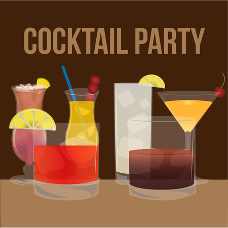 alcoholic drink: Brown background with text and a group of cocktails. Vector illustration Illustration