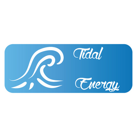 energy symbol: Isolated blue label with text and an icon for alternative energy. Vector illustration Illustration
