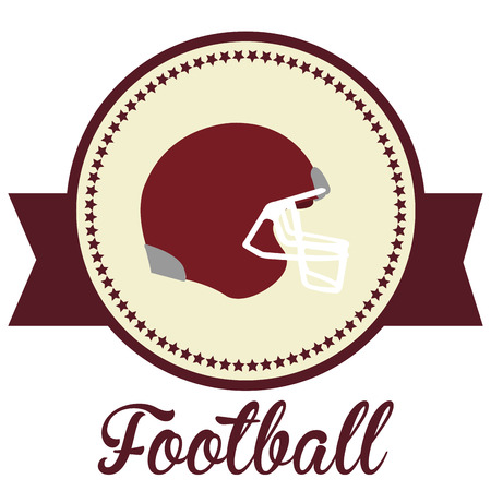 helm: Isolated label with stars and a football helm. Vector illustration