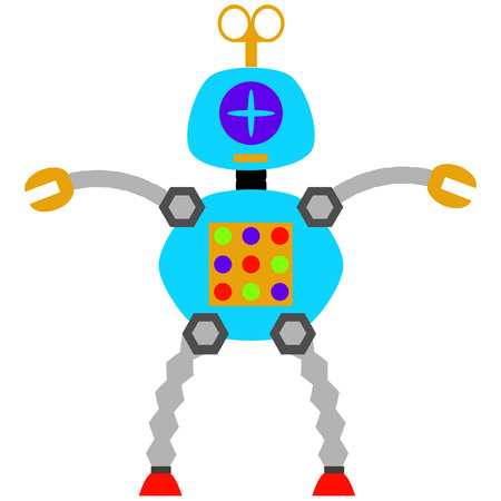 robot toy: Isolated robot toy on a white background. Vector illustration Illustration