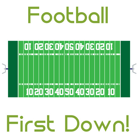 green field: Isolated football field with text. Vector illustration