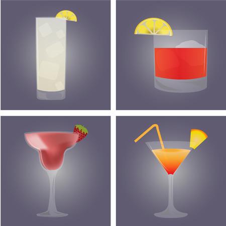frozen drink: Set of cocktails on colored backgrounds. Vector illustration Illustration