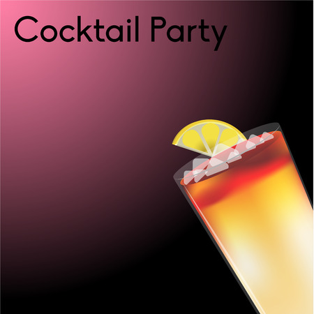 frozen drink: Colored background with text and a cocktail. Vector illustration