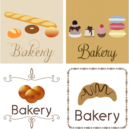bakery products: Set of different backgrounds with different bakery products. Vector illustration