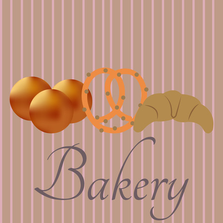 bakery products: Group of bakery products on a striped background. Vector illustration