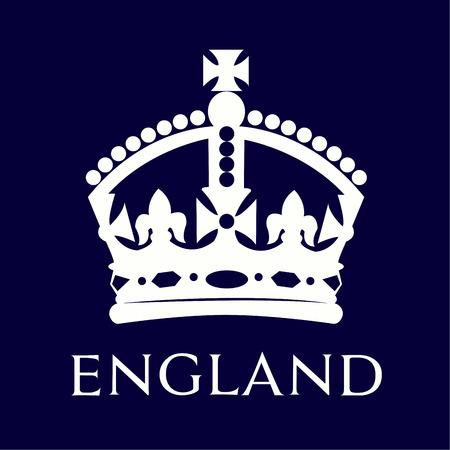 corona reina: Corona británica aislado en un fondo azul. Ilustración vectorial Vectores
