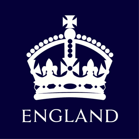 queen crown: Corona británica aislado en un fondo azul. Ilustración vectorial Vectores