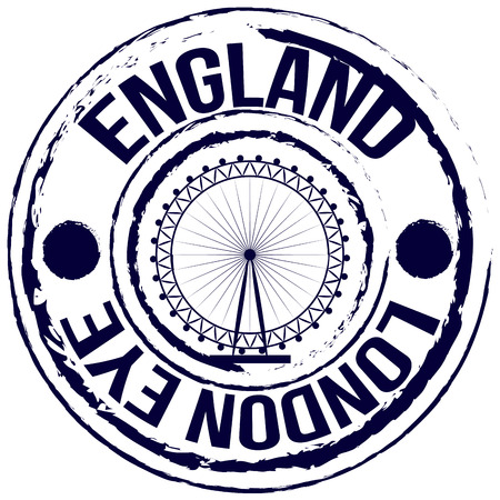 london eye: Isolated label with text and the London eye. Vector illustration Illustration
