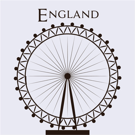 Isolated silhouette of the London eye and text. Vector illustration