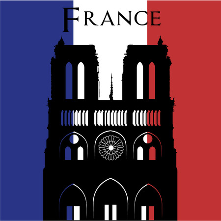 country church: Black silhouette of notre dame on a colored background. Vector illustration