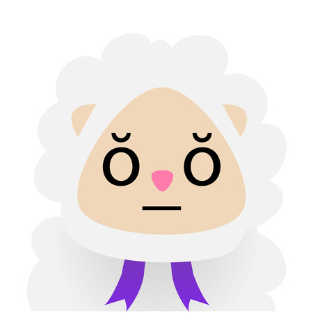 emote: Isolated sheep with facial expressions. Vector illustration