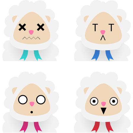 emote: Set of sheeps with facial expressions. Vector illustration Illustration