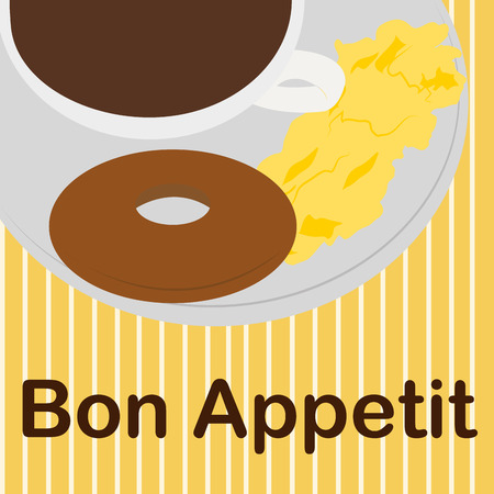 egg cups: Isolated breakfast on a striped background with text. Vector illustration