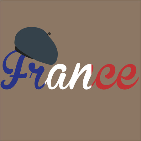 french culture: Colored background with text and a traditional french hat. Vector illustration