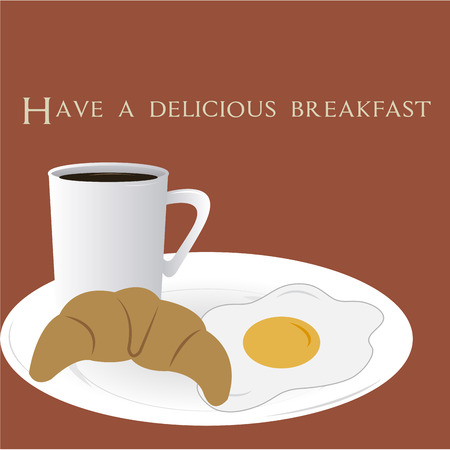 egg cups: Isolated breakfast on a colored background with text. Vector illustration Illustration
