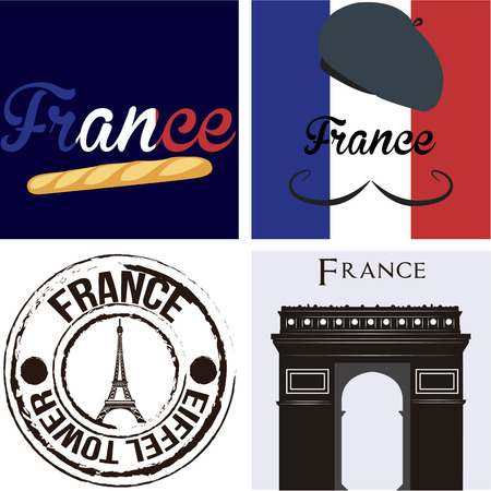 Set of backgrounds and labels with text and french elements. Vector illustration Фото со стока - 44309678