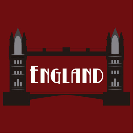 tower bridge: Red background with text and the tower bridge. Vector illustration