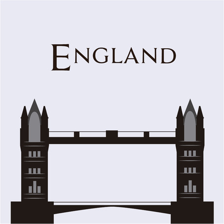 tower bridge: White background with text and the tower bridge. Vector illustration