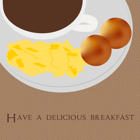 scrambled: Isolated breakfast with scrambled eggs on a textured background. Vector illustration