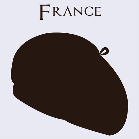 french culture: Isolated french hat on a white background with text. Vector illustration