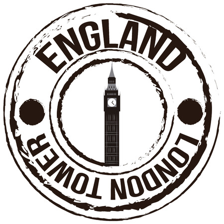 Isolated label with text and a silhouette of the big ben. Vector illustration