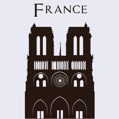 dame: Isolated silhouette of notre dame in a white background. Vector illustration Illustration