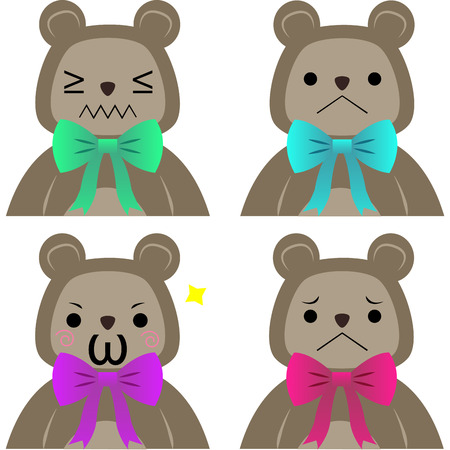 emote: Set of teddy bears with facial expressions. Vector illustration
