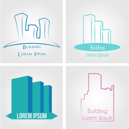 abstract logos: Set of abstract buildings for company logos. Vector illustration