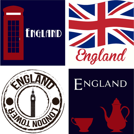 Set of backgrounds and labels with text and british elements. Vector illustration