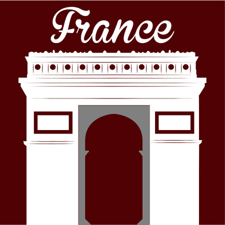 french culture: Isolated white silhouette of the arc of triumph on a red background. Vector illustration