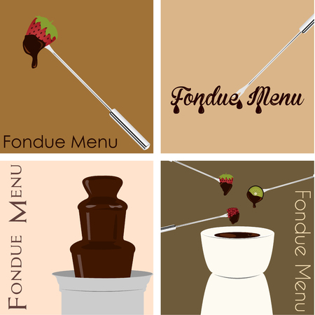 fondue: Set of backgrounds with hot chocolate and text. Vector illustration Illustration