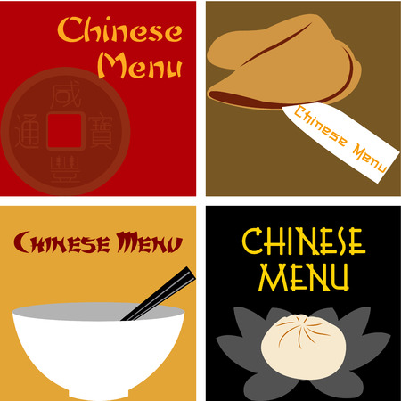 fortune cookie: Set of colored chinese menu designs with text. Vector illustration