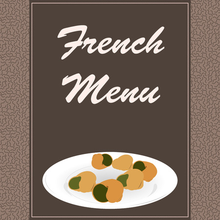 traditional french: Textured menu design with text and traditional french food. Vector illustration