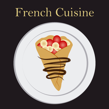 Isolated crepe on a menu design with text. Vector illustration