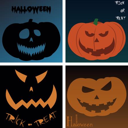 colored backgrounds: Set of jack o lanterns on colored backgrounds. Vector illustration