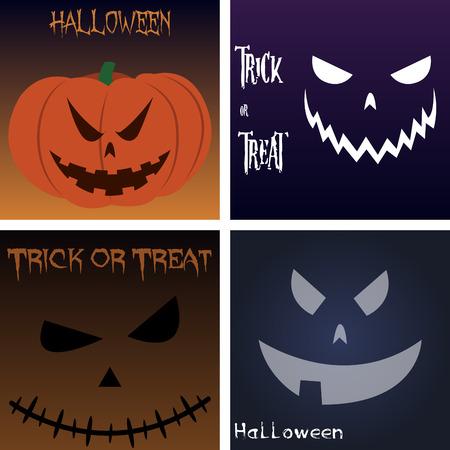 jack o: Set of jack o lanterns on colored backgrounds. Vector illustration