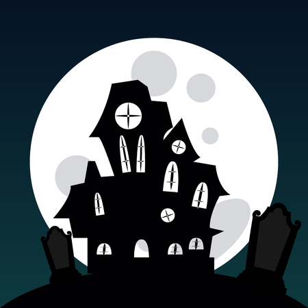 haunted: Colored halloween background with a haunted house and a graveyard