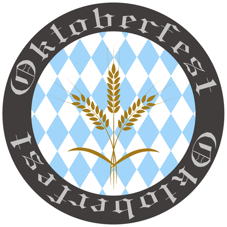 bavarian culture: Isolated label with traditional elements for oktoberfest