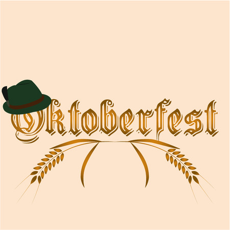 Colored background with text and traditional elements for oktoberfest Illustration