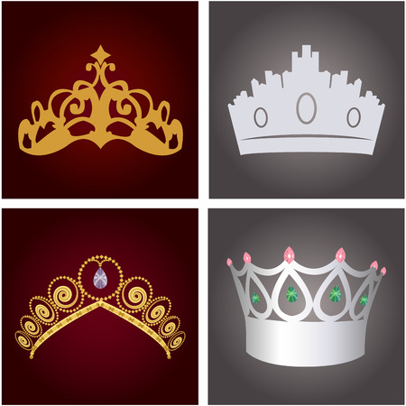 colored backgrounds: Set of royal crowns on colored backgrounds