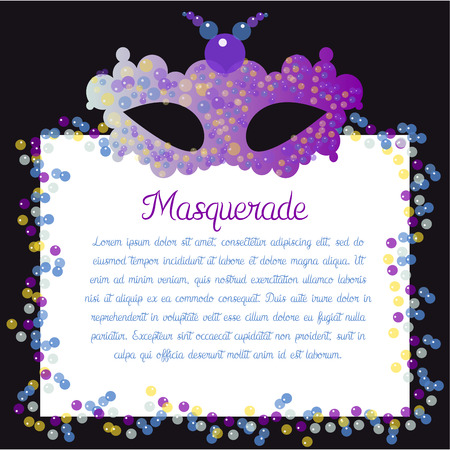masque: Colored background with text and a carnival mask