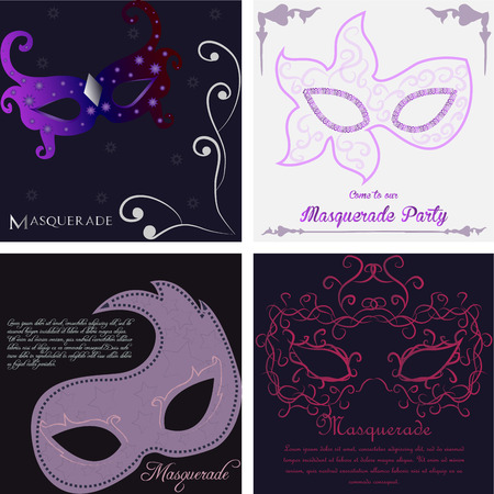 colored backgrounds: Set of colored backgrounds with text and carnival masks Illustration