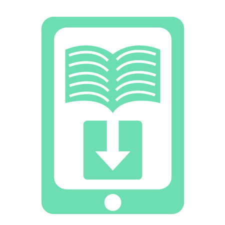 audiobook: White background with an e-book icon. Vector illustration