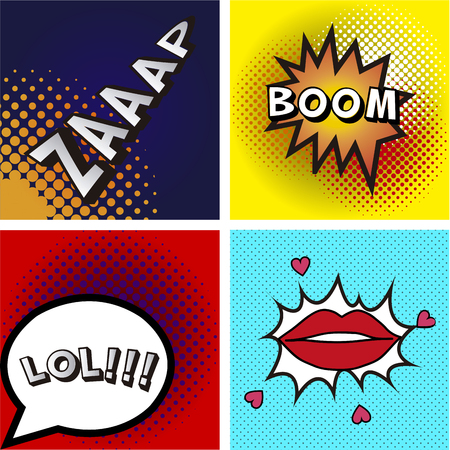 colored backgrounds: Set of pop art expressions on different colored backgrounds Illustration