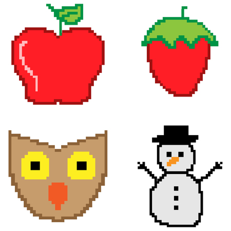 8bit: Set of 8-bit icons on a white background