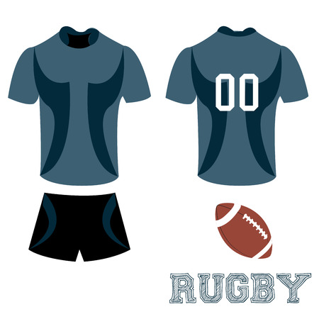 rugby: Isolated sport uniform and some rugby elements